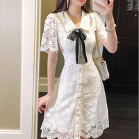 Tape ribbon brooch lace dress(No.301432)
