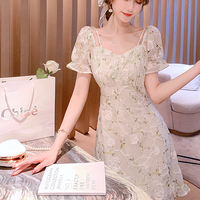 Puff sleeve mint rosy dress(No.301330)