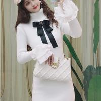 Mono silhouette long knit dress(No.301759)【black , white】