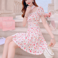 Peach flower neck collar dress(No.301275)