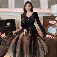 Cinderella line black tulle long dress(No.030954)