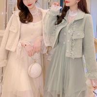 Fairy drape tulle dress & jacket set(No.300883)【2color】