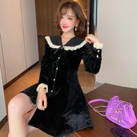 Petite ribbon retro velour dress(No.301687)