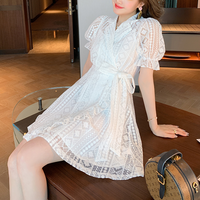 Puff sleeve white lace dress(No.301465)