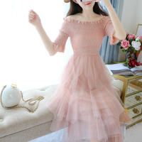 Tulle docking off-shoulder dress(No.300469)