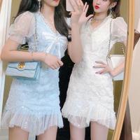Pearl ribbon motif lace dress(No.301233)【2color】