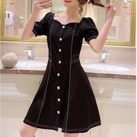 Heart cutting puff sleeve dress(No.300679)