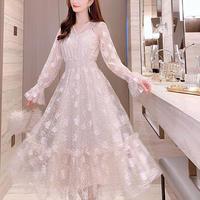 Lady flower tulle long dress(No.301048)