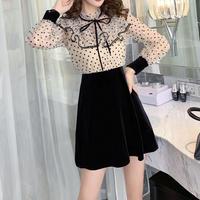 Dot lace docking dress(No.300865)【2color】