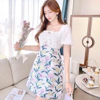 Tulip motif fabric docking dress(No.302295)