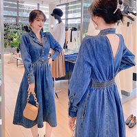 Back point open denim long dress(No.301659)