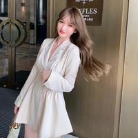 Elegant waist line trench dress(No.301635)【black , cream】