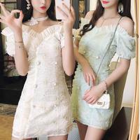 Off-shoulder tulle frill dress(No.301308)【2color】