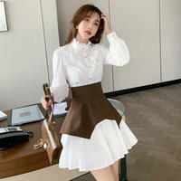 Stand collar shirt belted dress(No.302077)