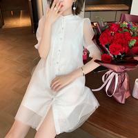Puff sleeve mini shirt dress(No.301459)
