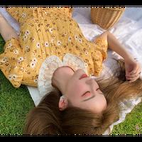 Bijou button petite flower dress(No.301410)【purple , yellow】