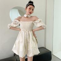 Creamy puff sleeve mini dress(No.302185)