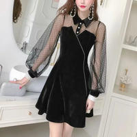 Velour dot tulle sleeve dress(No.300909)【2color】