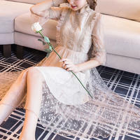 Simple petite flower lace dress(No.301000)