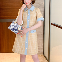 Idol look denim line tweed dress(No.301511)