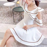 Angel shoulder cutting white dress(No.301199)
