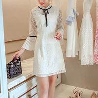 Taping ribbon lacy dress(No.300794)