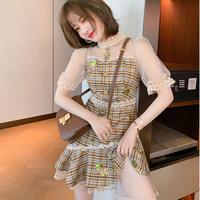 Honey brown gingham check dress(No.302333)