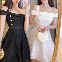 Asymmetry shoulder fairy dress(No.301252)【mint , white , black】