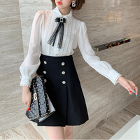 Front lacy blouse & bijou skirt setup(No.301556)