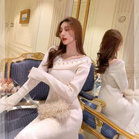 Holiday cross décolleté knit dress(No.301901)【black , cream】