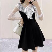 V-cut frill monotone dress(No.301022)【2color】