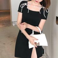 Double ribbon brooch slit dress(No.301498)