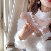 Décolleté cross lace mohair tops(No.301927)【black , white】