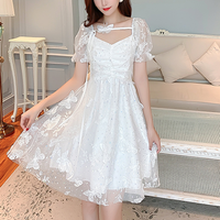 Butterfly lace puff sleeve dress(No.301279)