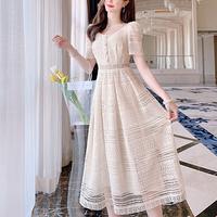 Lady crochet lace long dress(No.301065)