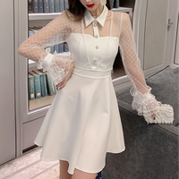 Bijou check lacy sleeve dress(No.301644)【black , white】