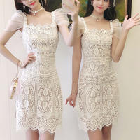 Organdy tulle sleeve cutting lace dress(No.301295)