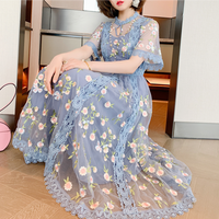 Fairy blue flower emboss long dress(No.301398)