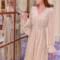 Pearl belted creamy velour long dress(No.301803)