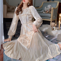 Classical milky velour long dress(No.301875)