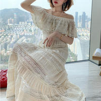 Bijou lace off-shoulder long dress(No.301076)
