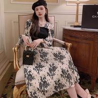 Vintage fleur knit combination long dress(No.030950)