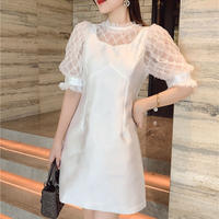 Whip cream point pearl dress(No.302309)