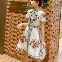 Rich flower ribbon tie dress(No.301239)