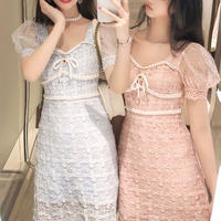 Pearl ribbon cutting lace dress(No.301211)【2color】