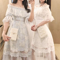 Long tulle off shoulder lacy dress(No.301100)【2color】