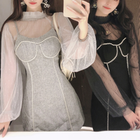 Tulle blouse & pearl line dress(No.301504)【white , black , gray】