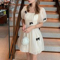 Cache-coeur chiffon point ribbon dress(No.301499)