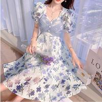 Back tulle ribbon flower long dress(No.302133)