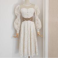 Fairy flower lace camel belt dress(No.031022)
